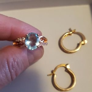 rose gold color, ring and earring set